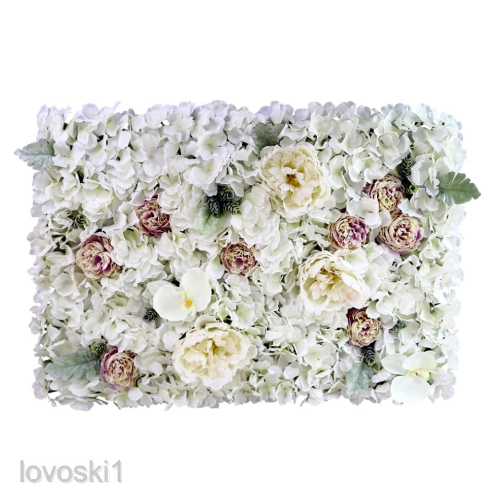 4xRomantic Rose Artificial Flower Wall Panel Wedding Venue Floral Decor Pink