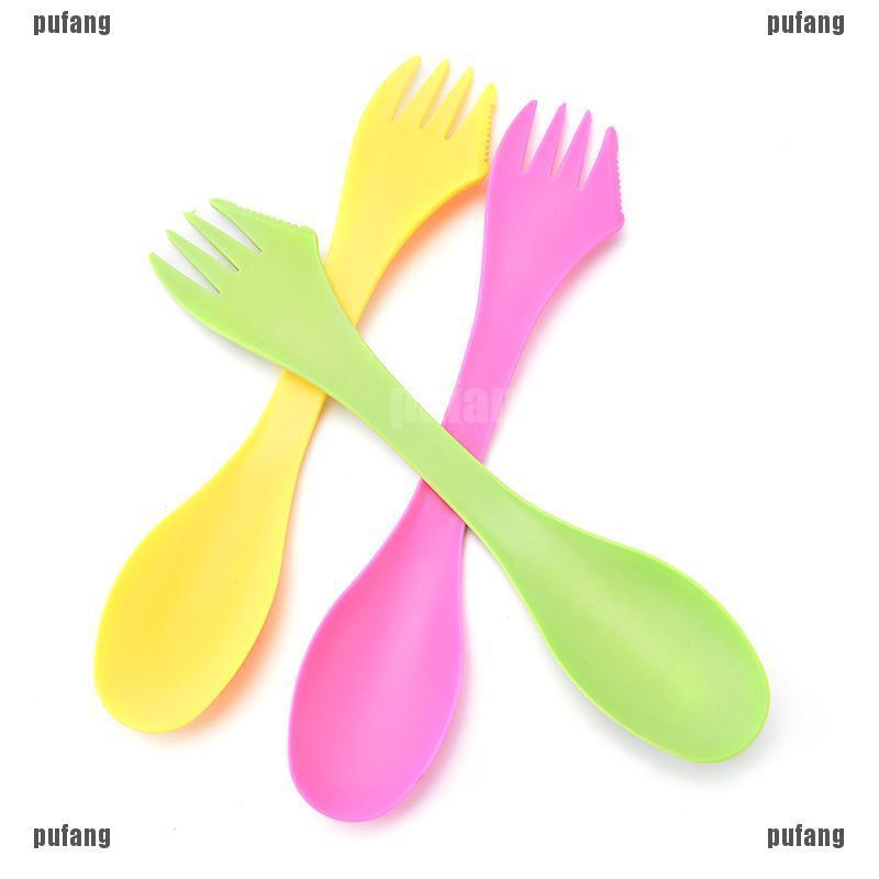 6 Pcs Camping Utensils Spork Combo Travel Gadget Spoon Fork Cutlery