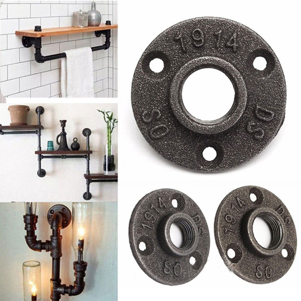 """Malleable Threaded Floor Flange Iron Pipe Fittings Wall Mount Supplies 1//2/"""" 3//4/"""""""