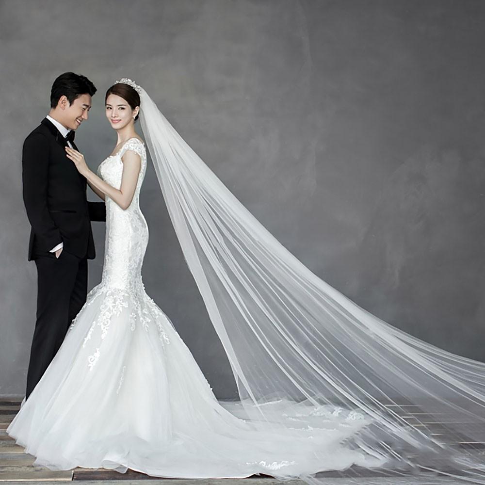 wedding bridal party mesh yarn 3m long 1t tiur bride floor gown veil