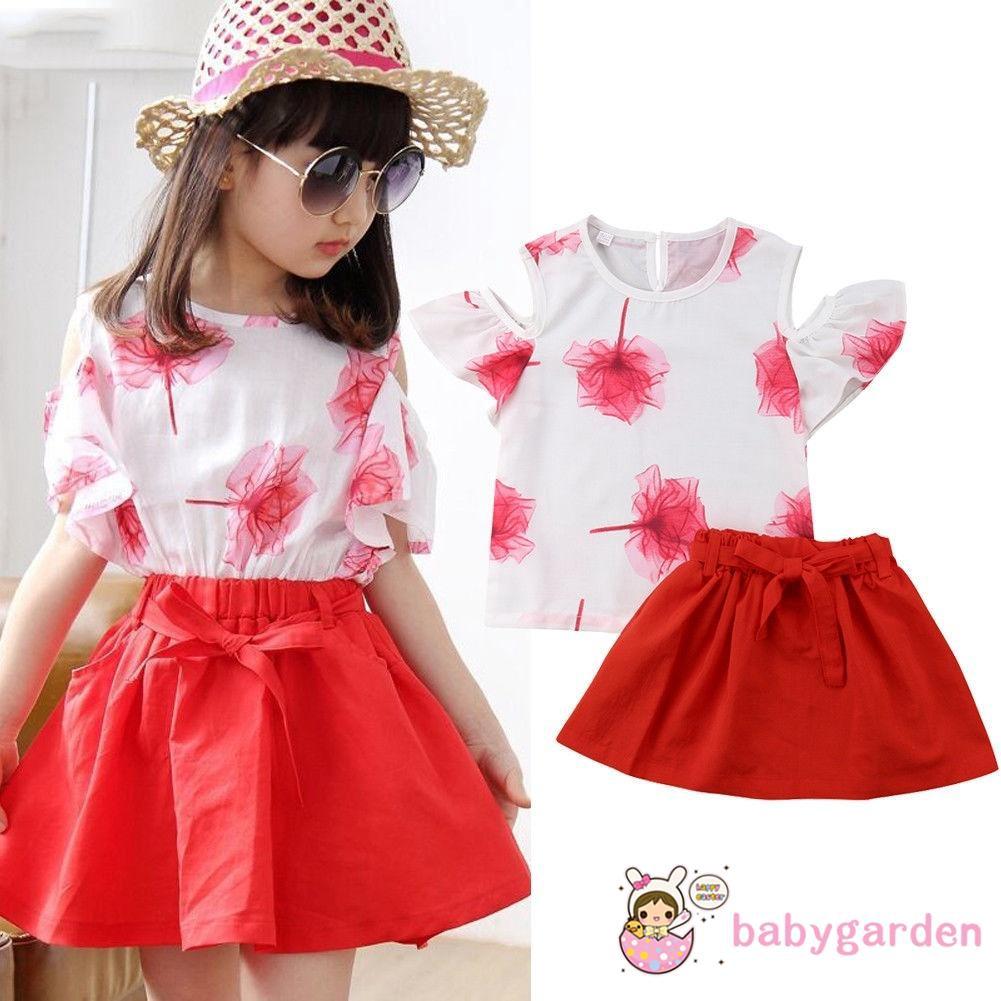 Baby Girls Skirt Sets,Kids Girls Mini Boss Printed Tops T Shirt Tee Mini Skirt Dress Outfits Clothes
