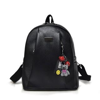 a2b70cadbf 2018 Women Fashion Backpacks Lady PU Leather Backpack with Funny Bear  Hanging