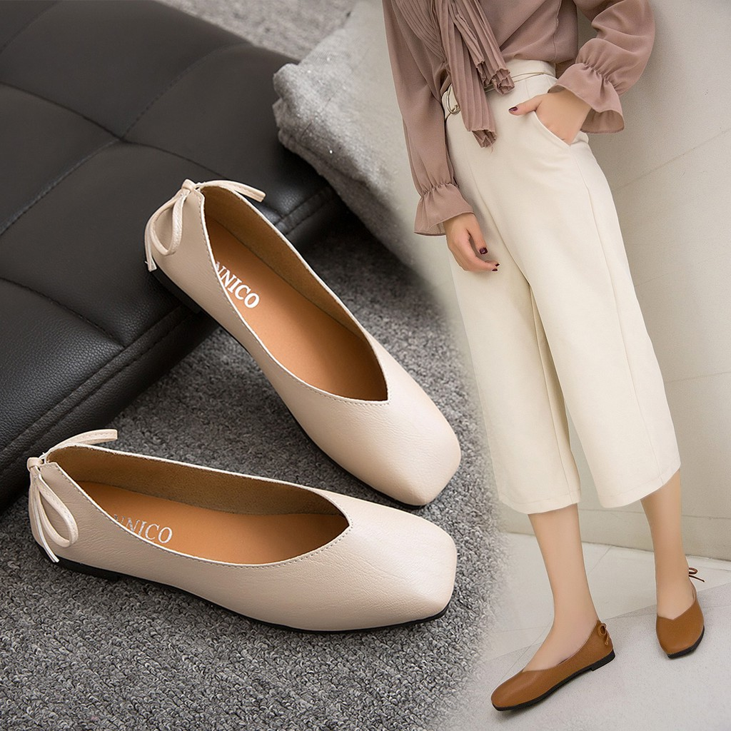 Shoes female 2018 new square head Korean version of the country flat bow  retro g  d607f18ca689