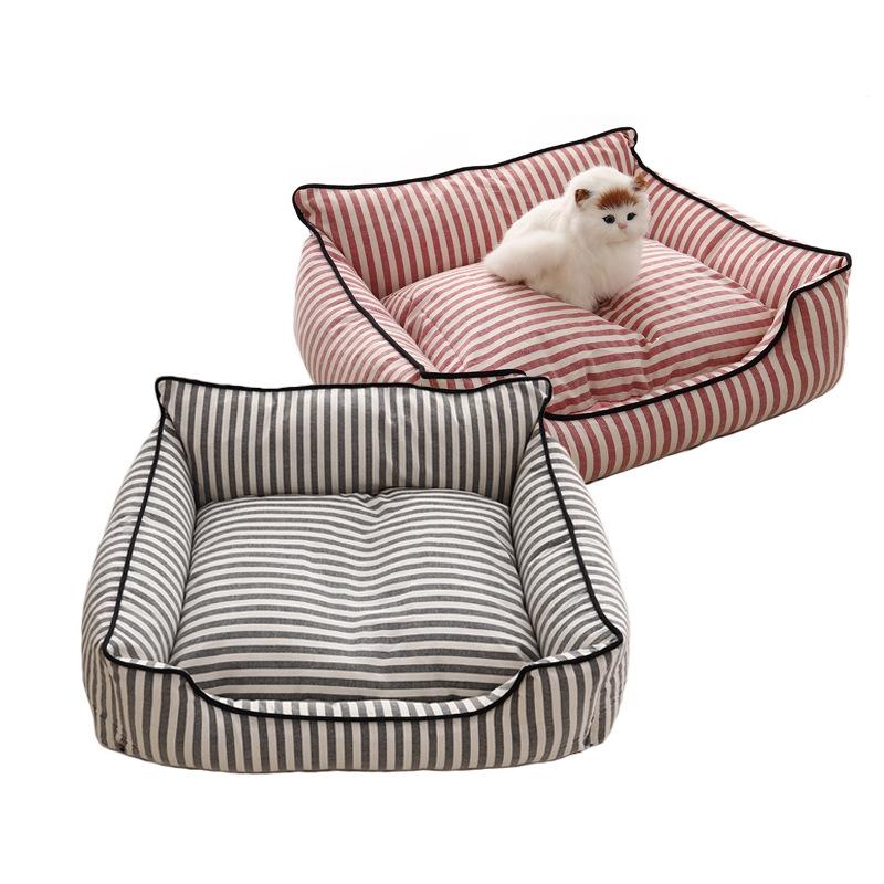 Stripe Pattern Pet Sofa Bed Mat Dog Cat