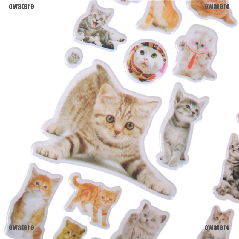 3 Sheets Kawaii Cat Animal Scrapbooking Bubble Puffy Stickers Reward Kids FDER