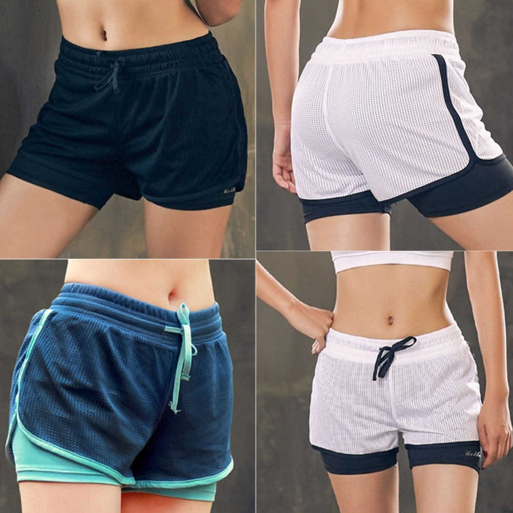 SILIK Womens Short 2 in 1 Running Shorts Sports Jogging Gym Pants with Pockets