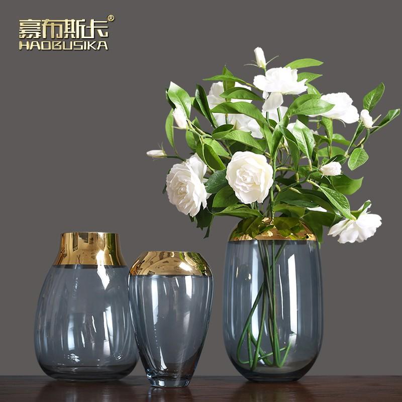 European Light Luxury Glass Transparent Vase Dried Flowers Modern Minimalist Living Room Flower Arrangement Table Dining Shopee Singapore
