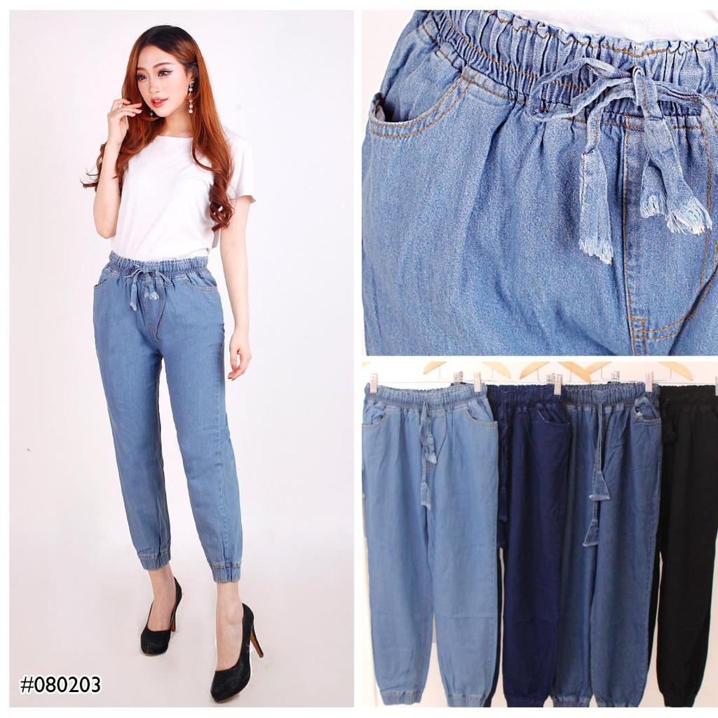 Legging Jeans Rubber Waist Pants For Women Skinny 080203 Premium Quality Shopee Singapore