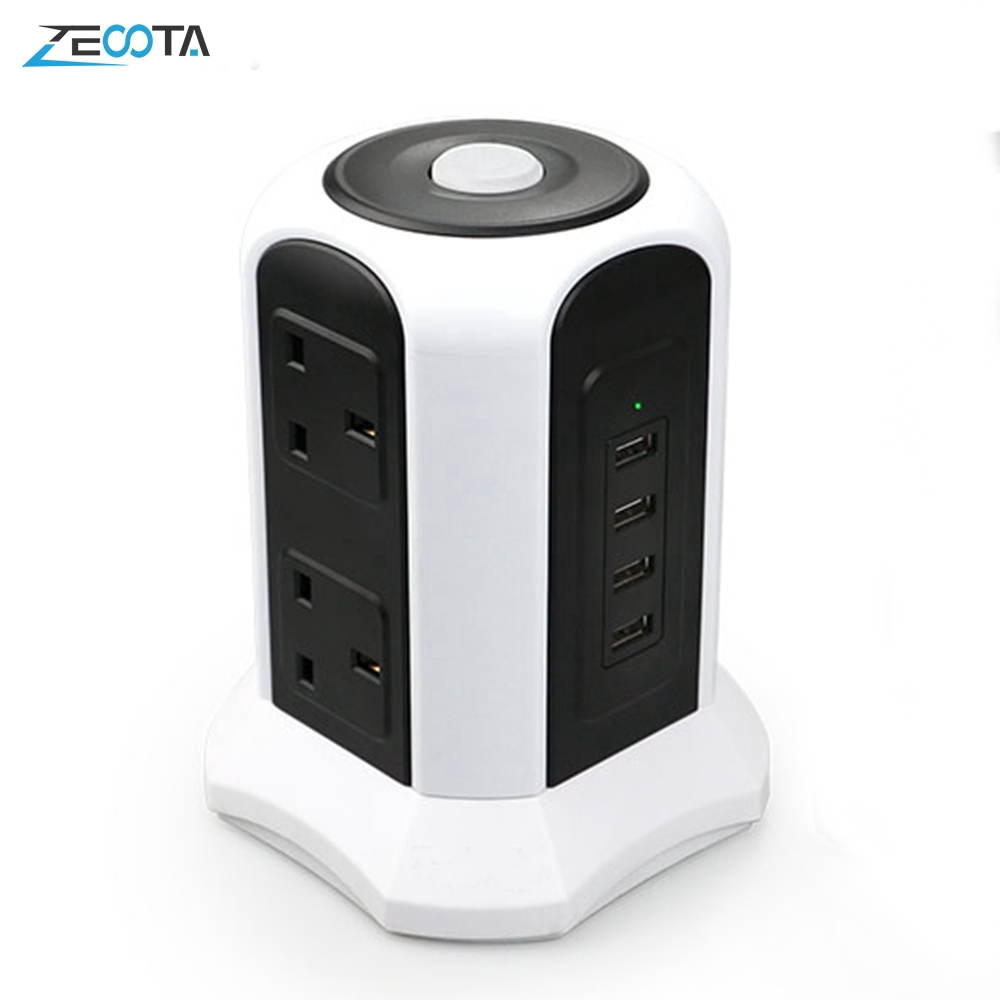 Tower Power Strip Protection 6 Way Eu Outlets Plug Socket With Usb Switch Overload Protector 2m Extension Cord EU Plug Socket BLACK