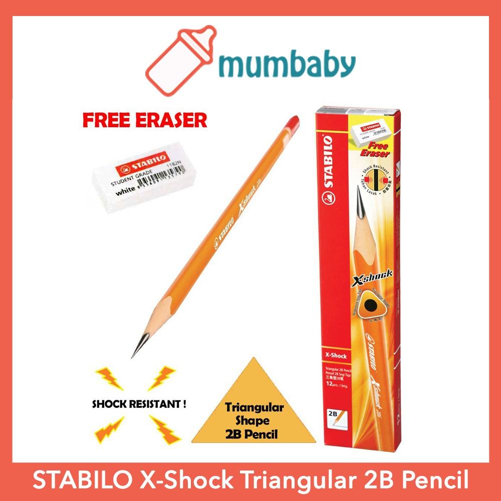 12 Stabilo X-shock 286 Triangular 2B Pencils with Eraser