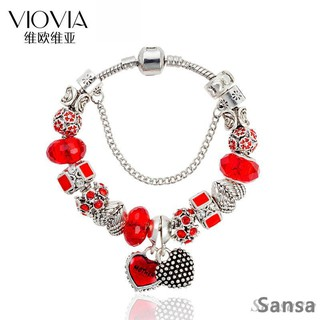 Sansa Diy Crystal Beaded Charm Bracelet Angel Wings Mother And