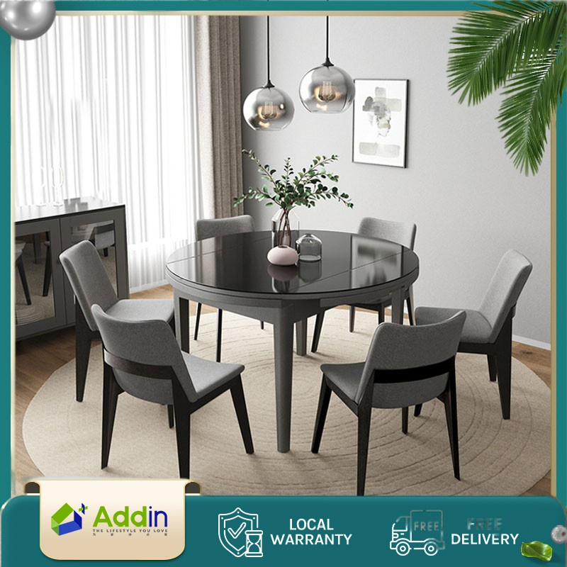 Addin Scandinavian Extendable Tempered, Round Dining Room Table And Chairs