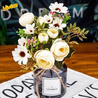 Wedding Bouquet Fashion Silk Fake Flowers Living Room Vintage Office Silk Flower Handmade Artificial Flower Shopee Singapore