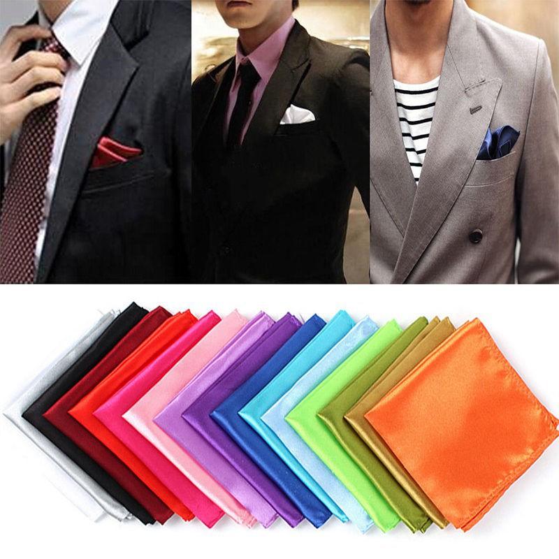New Men Satin Silk Pocket Square Hankie Hankerchief Wedding Party Formal Suits