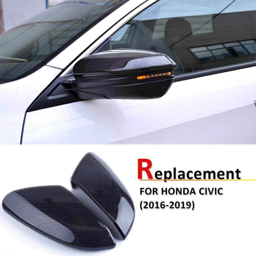 2Pcs Car Rear View Side Mirror Cover Cap For Honda Civic 2016 2017 2018