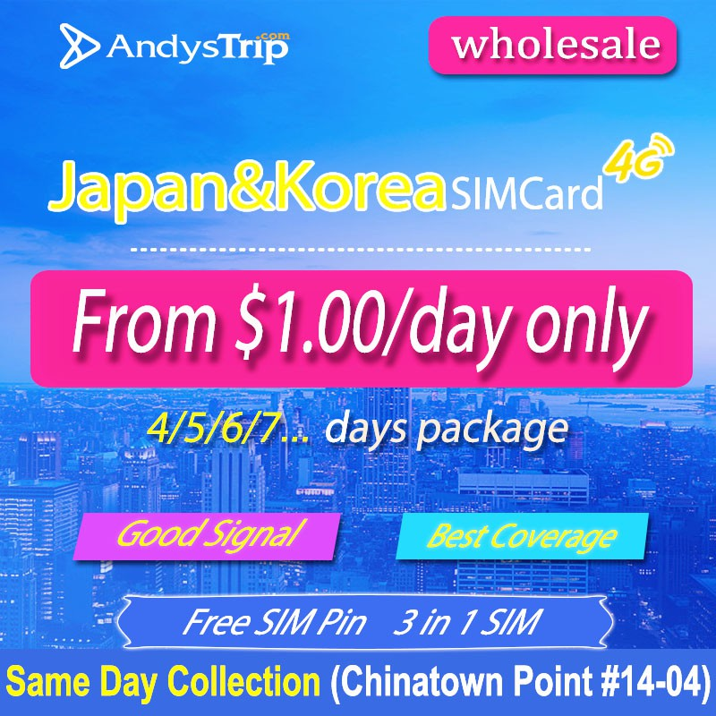 Wholesale Japan & Korea 4-30Day Prepaid Travel SIM Card Unlimited Data Free  Pin