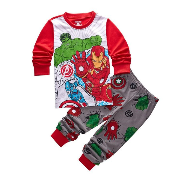 1866ffcf32f6 Baby Kids Boys Pajamas Girls Sleepwear Nightwear Cartoon Iron Man ...