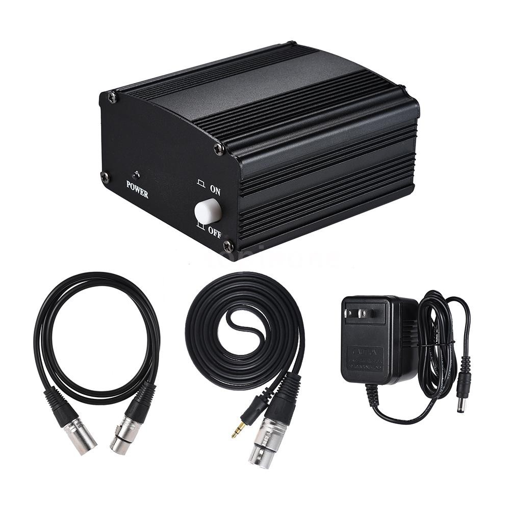 48V USB Charging Condenser Microphone Power Supply with 6.35mm Audio Cable Black