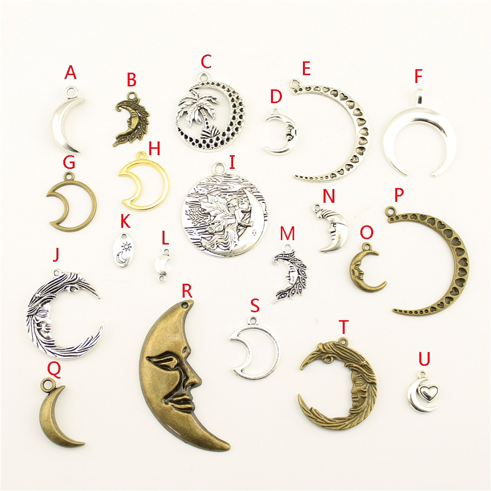 CHOOSE 5,10,20 MOON FACE PENDANT CHARMS JEWELLERY MAKING TIBETAN SILVER COLOR