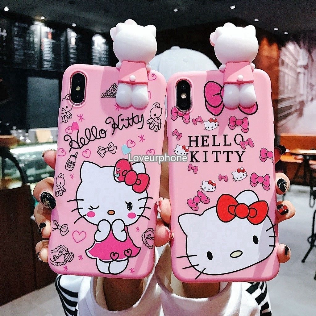 Case Vivo V9 V7 V7Plus V5 Y66 Y71 Y83 Hello Kitty Case Silicone Doll Stand Case