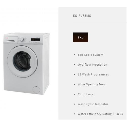 Image result for SHARP ES-FL78MS 7kg Front Load Washing Machine shopee.sg