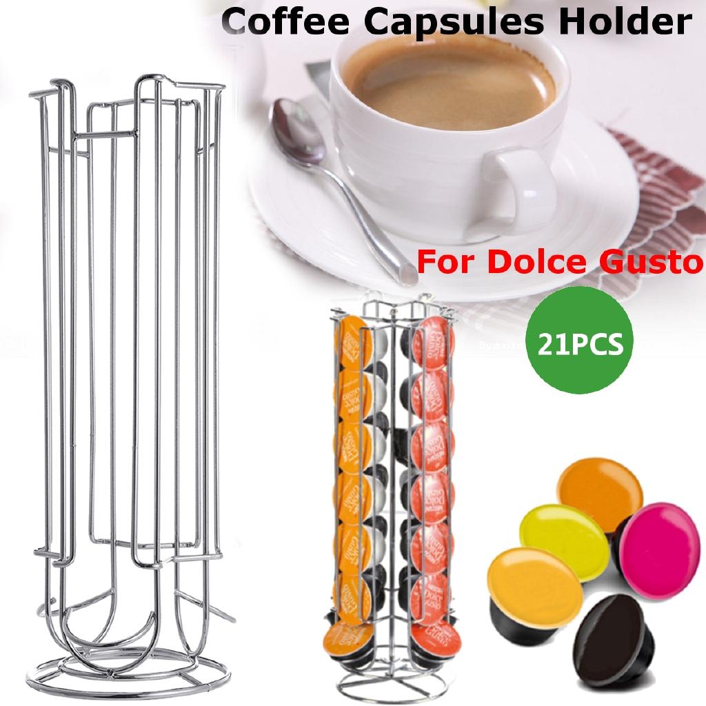 REVOLVING COFFEE POD HOLDER TASSIMO NESPRESSO DOLCE GUSTO CAPSULE STAND CHROME