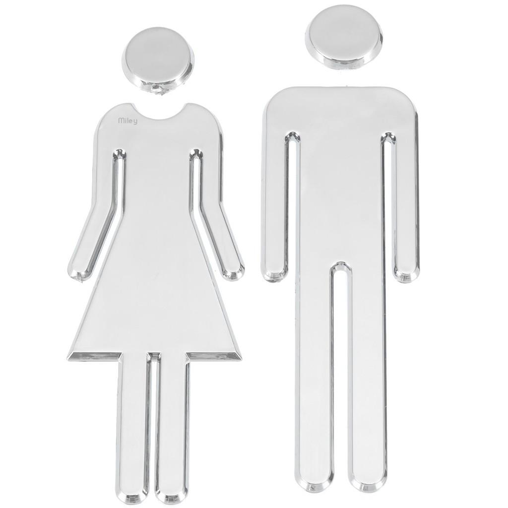 MEN /& WOMEN Toilet//Loo//Bathroom//Restroom//WC Door Sign Adhesive Plaque Silver