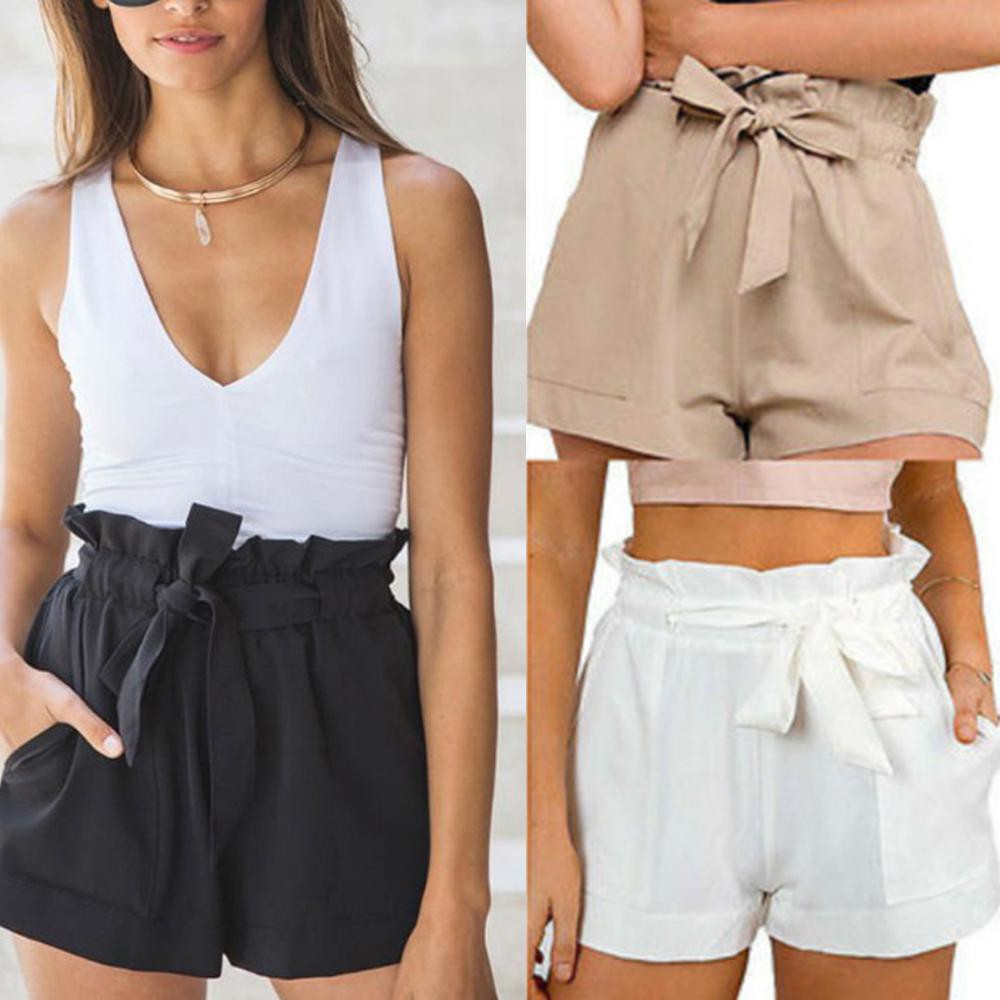 Women Pants Stylish Loose Shorts Bow Beach High Waist Short Trousers Plus Size