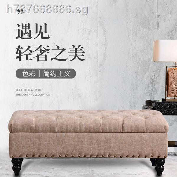 Light European Style Luxury Stool In Shoes Shop Rest Bench Bed End Storage Sofa Wood Rectangular Bin Shopee Singapore