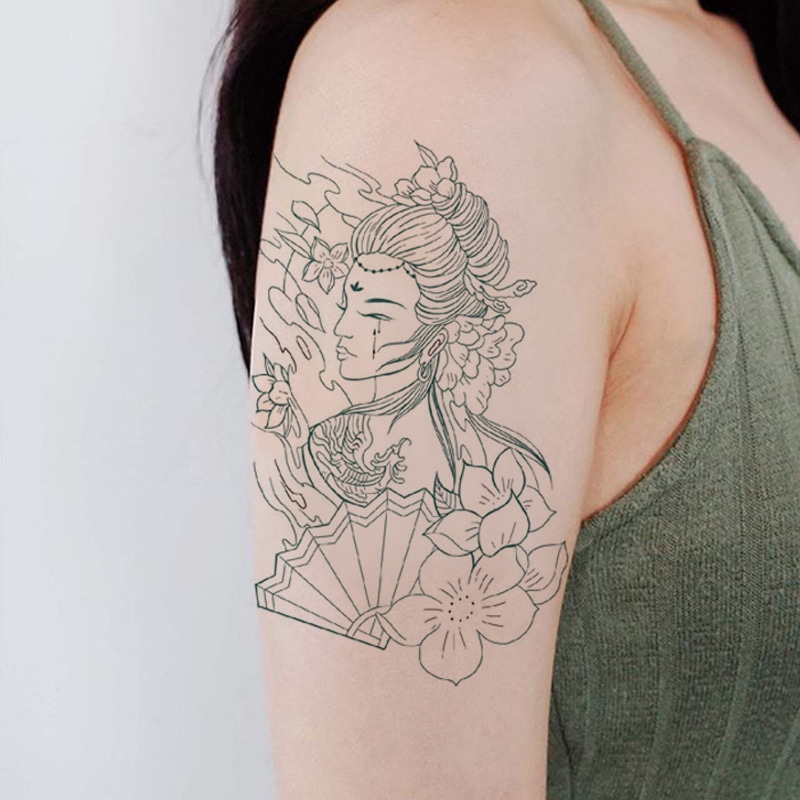 Fashion Temporary Tattoo Sticker Geisha Arm Body Art Big Large Fake Tattoo Sticker Shopee Singapore
