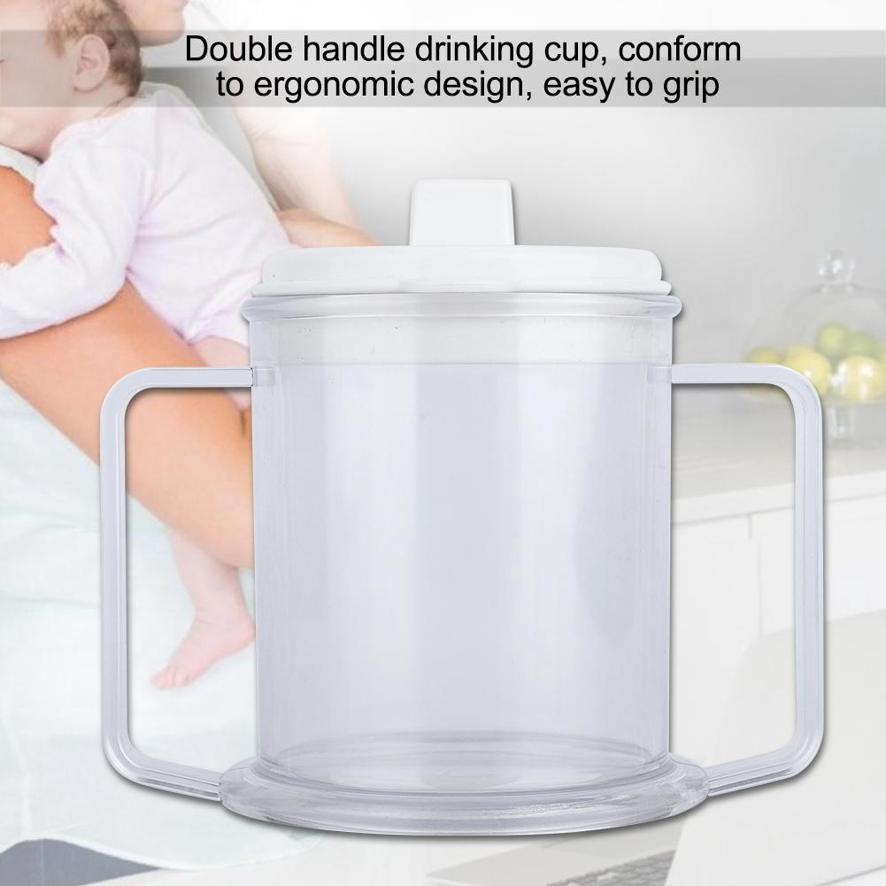Double Handle Mug Water Drinking Cup Spill-proof Sippy Cup for Children Elderly