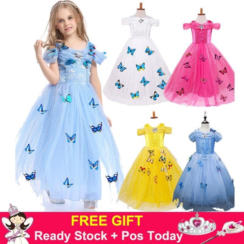 Fancy Girls Kids Cinderella Transformation Dress+Coat Cosplay Costume Party