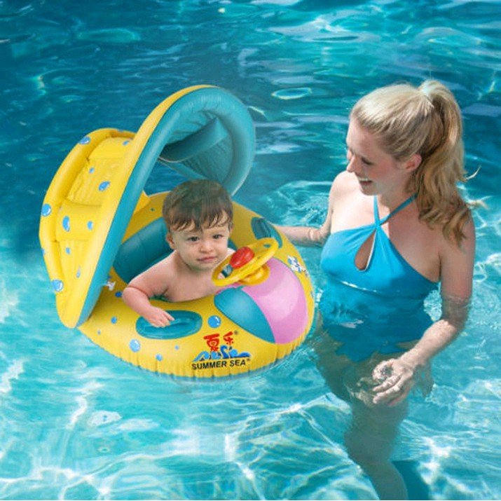 Inflatable Duck Baby Swimming Ring Seat Float Boat Beach Sun Shade Water Pool