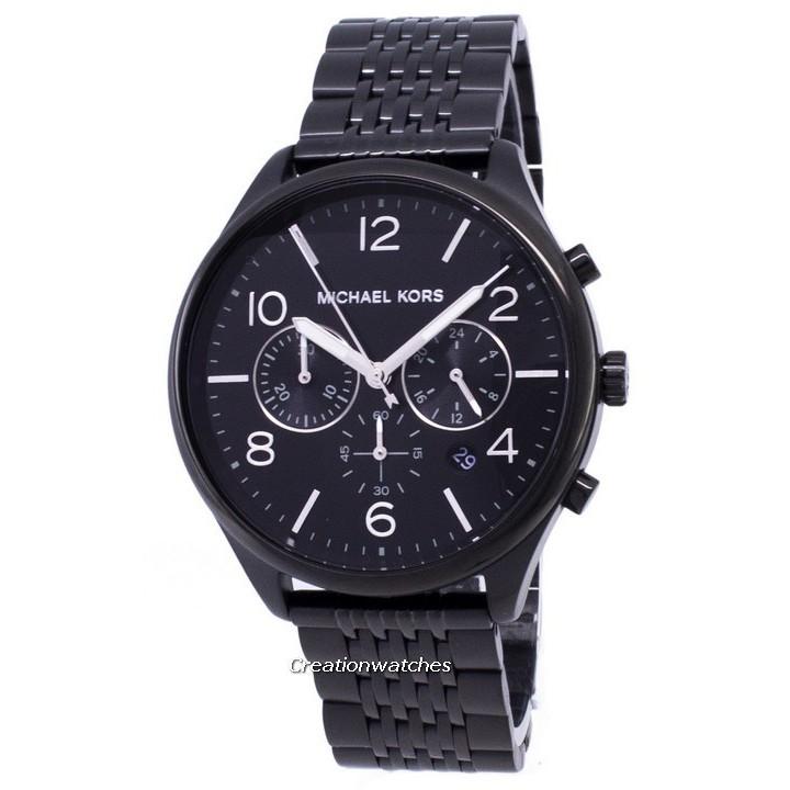 2fb49cb2695dc Michael Kors MK6438 Ladies Ritz Black Stainless Steel Chronograph Watch