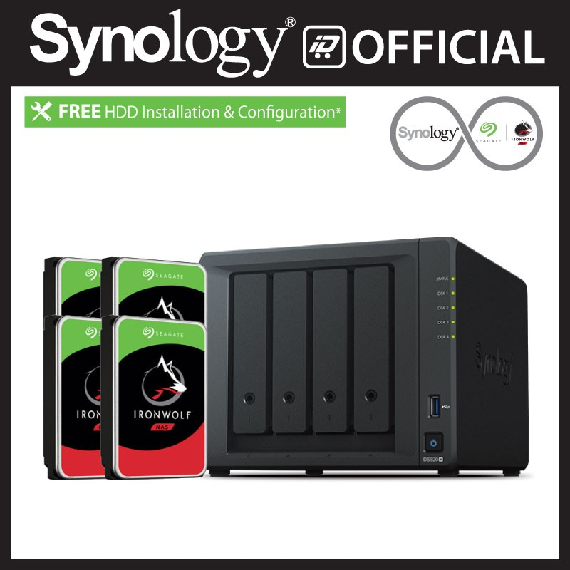installed with 4 x 2TB Seagate IronWolf Drives Synology DS920 8TB 4 Bay Desktop NAS Solution