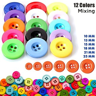 Craft 18mm DIY 25mm Round Wood Color Scrapbooking Wooden 4 Holes Buttons
