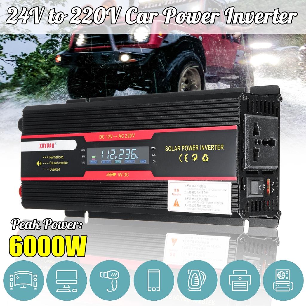 Car Solar Power Inverter 12//24V DC to 110//220V AC Wave Converter 4000W//3000W