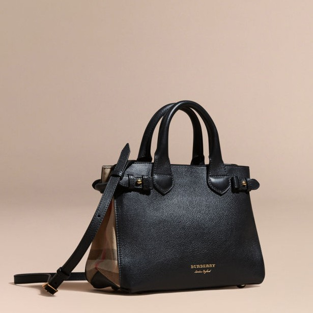 8a11e29357a9 Burberry The Small Banner in Leather and House Check