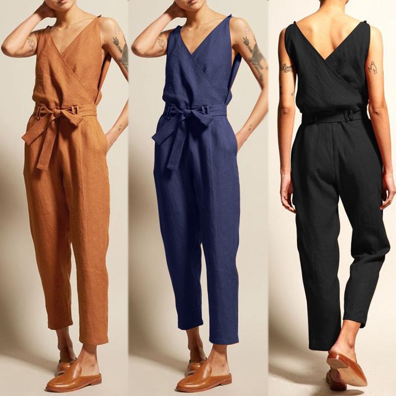 Women Sleeveless Dungarees Bandage Jumpsuit Club Harem Overalls Romper Size 8-26