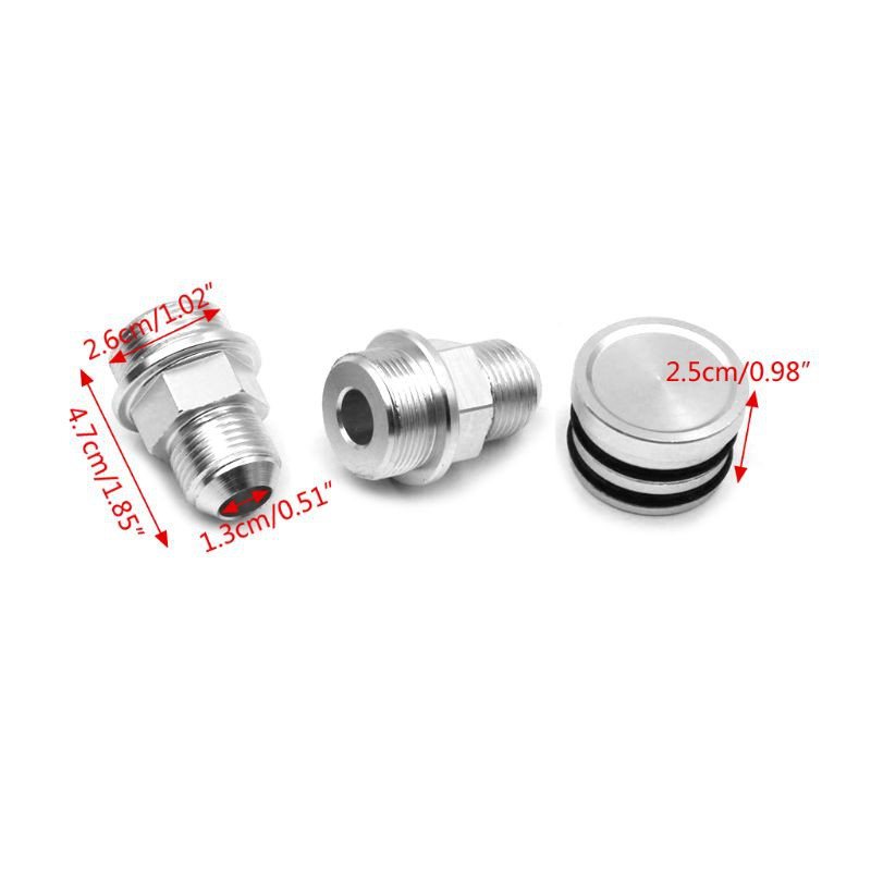 REAR BLOCK BREATHER FITTINGS AND PLUG SLIVER FOR B16 B18C CATCH CAN M28 TO 10AN