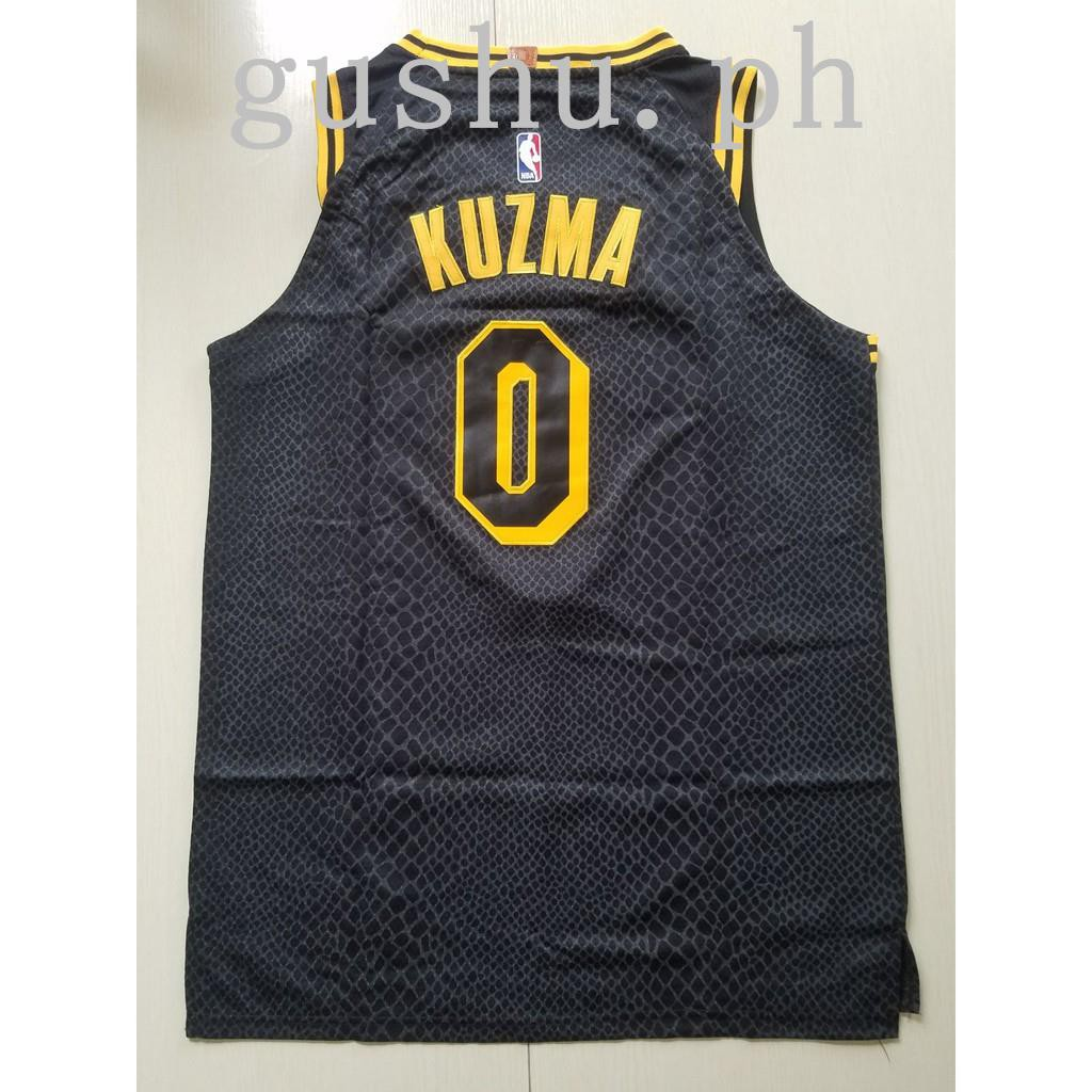 buy popular b64d6 810ae NBA Jersey Basketball Suit Lakers City Edition Black No. 0 KUZMA Shirt  Adult Ves