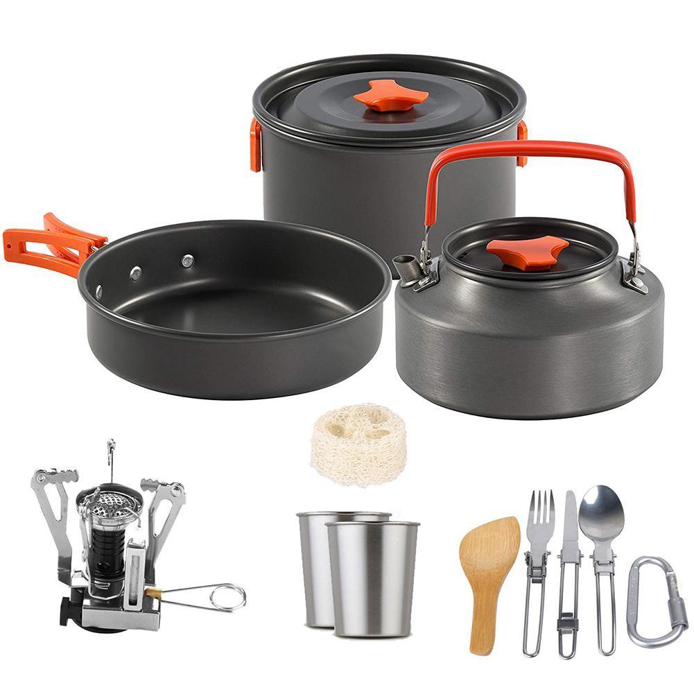 ღmiracle1 Set Outdoor Pots Pans Camping Cookware Cooking Set W Stove For 2 3 Person