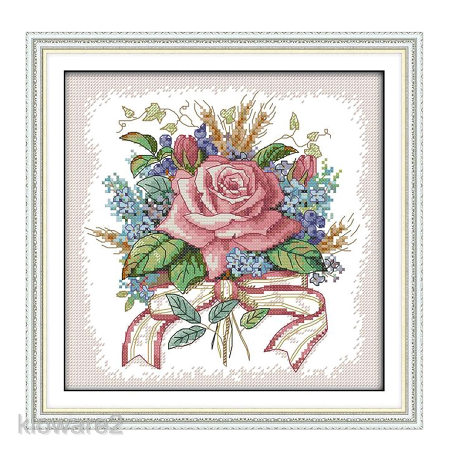 Stamped Cross Stitch Kits 14CT Pre-Printed Painting Cross Stiching DIY Art Crafts /& Sewing Needlepoints Kit for Home Decor Spring Scenery in Garden