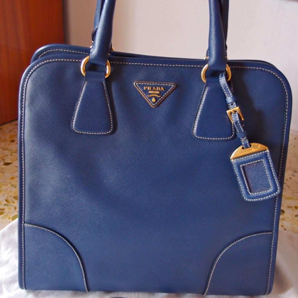 d66a112d2e9e Prada Blue Saffiano Leather Handbag - Lightly used | Shopee Singapore