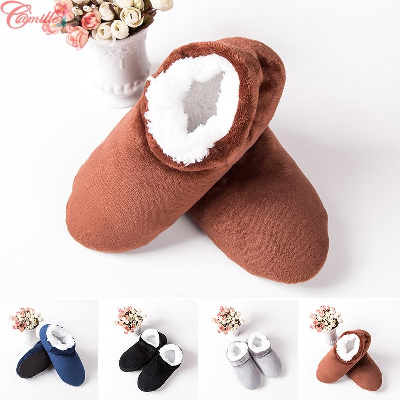 Men Winter Warm Cotton Anti-Slip Slippers Flat Home Sandals Indoor Shoes Comfy
