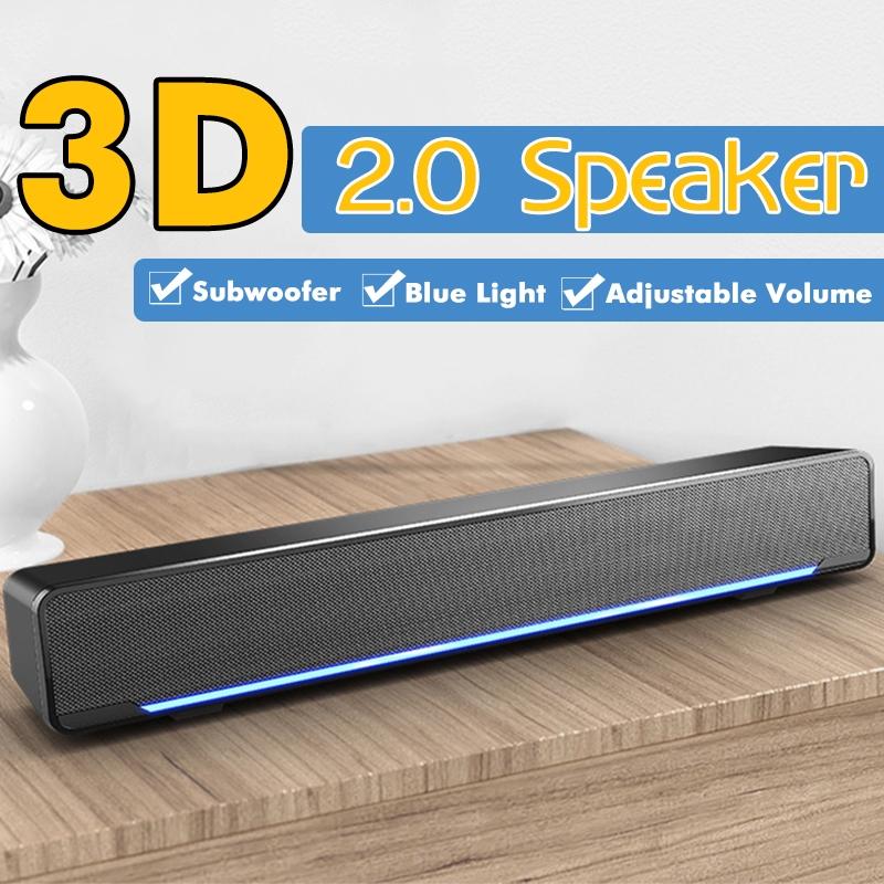 SADA Multimedia 2 0 Desktop Computer Speaker LED Light Heavy Bass Subwoofer  Home Speaker USB Power Supply For PC