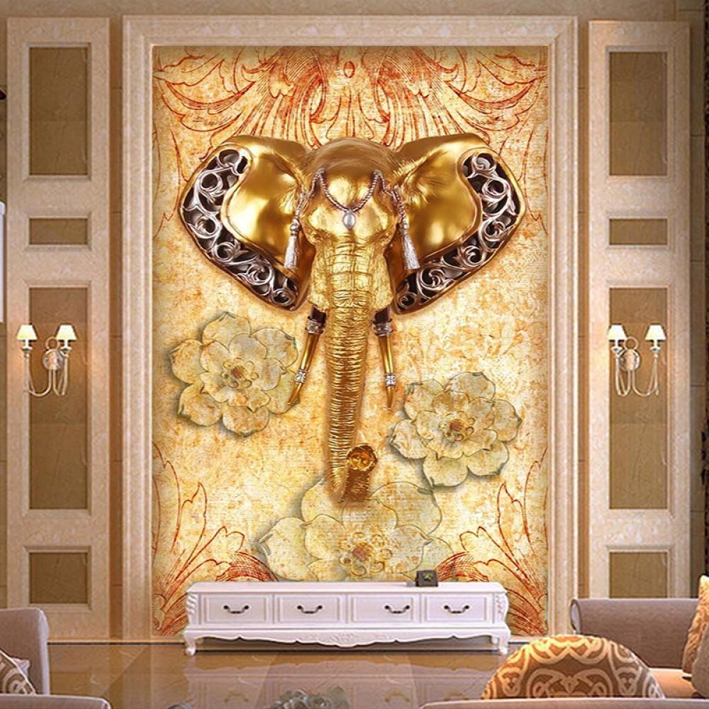 3d Wallpaper Southeast Asian Style Elephant Entrance