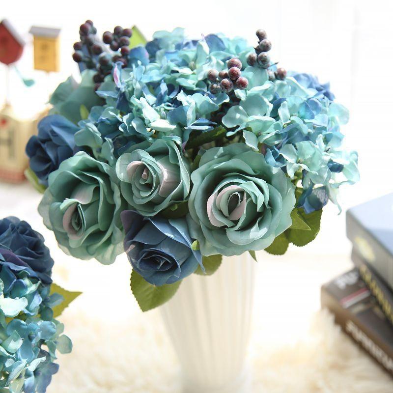 6pcs Artificial Flowers Blue Rose Silk Flower Bouquet For Home Decoration Shopee Singapore