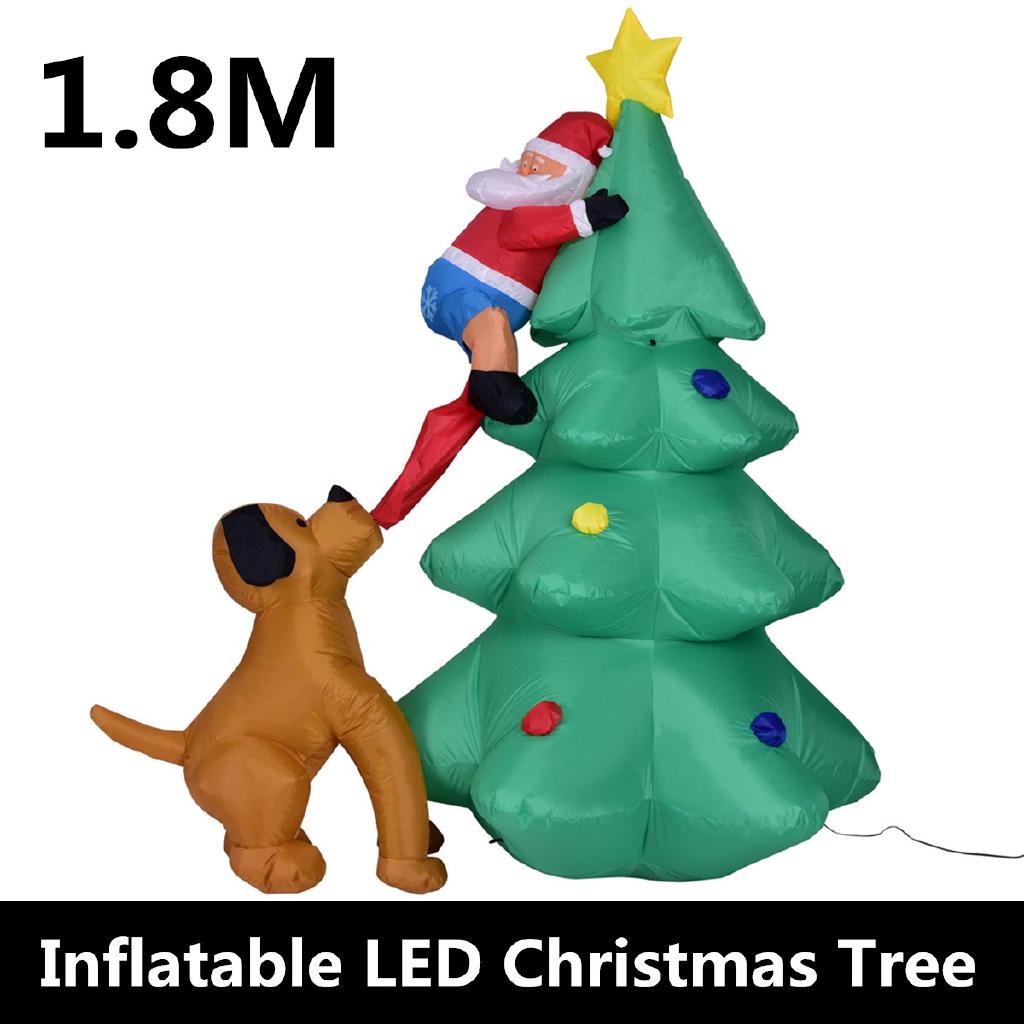 Chase Christmas Eve Hours.1 8m Inflatable Led Dog Chase Santa To Christmas Tree Yard Outdoor Indoor Decor