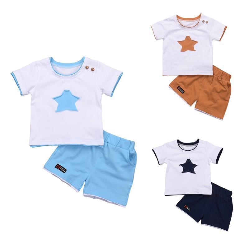 87a92811274e Boys Panda Print Strap Short Sleeve Striped Tops + Pants Baby Clothes Set